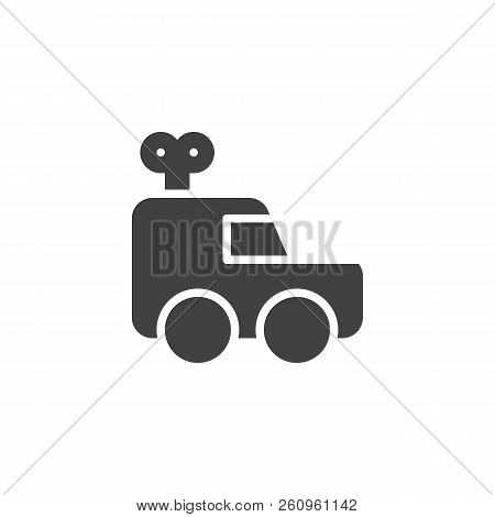 Clockwork car vector icon. filled flat sign for mobile concept and web design. clockwork toy simple solid icon. Symbol, logo illustration. Pixel perfect vector graphics stock photo