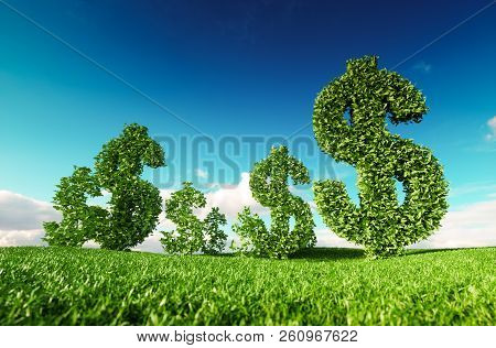 Eco friendly business, green profit, growing money and  sustainable economy concept. 3d rendering of green dollar icon on fresh spring meadow with blue sky in background. stock photo