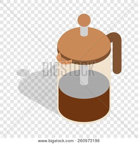 French press coffee maker isometric icon 3d on a transparent background illustration stock photo