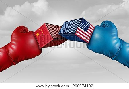 Trade war China US or United States economy and American tariffs conflict with two opposing trading partners as an economic import and exports dispute concept with 3D illustration elements stock photo