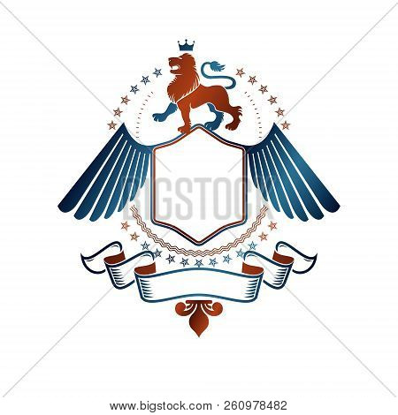Graphic winged emblem created with Brave Lion King, imperial crown and decorative ribbon. Heraldic Coat of Arms decorative logo isolated vector illustration. stock photo