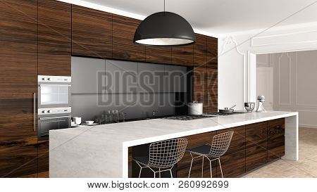 Classic kitchen in vintage room with moldings wall, luxury interior design, 3d illustration stock photo