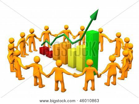 Orange cartoon characters in a circle with a chart. White background. stock photo