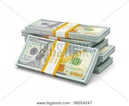 Creative business finance making money concept - stack of new new 100 US dollars 2013 edition banknotes (bills) bundles isolated on white background money stack on white stock photo