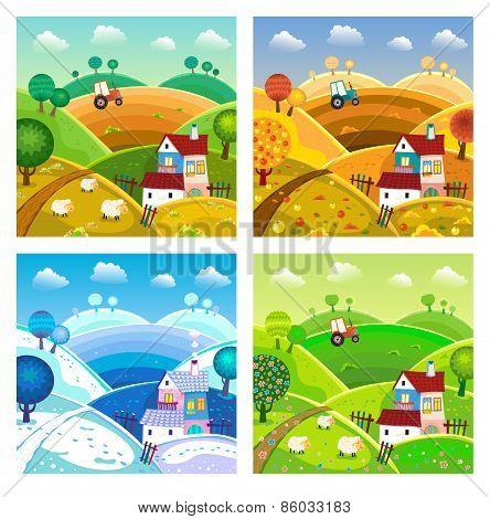 Rural Landscape. Four Seasons.