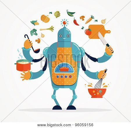 Multitasking robot chef baking and cooking stock photo