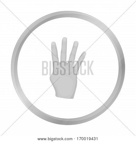 Rabia sign icon in monochrome style isolated on white background. Hand gestures symbol vector illustration. stock photo