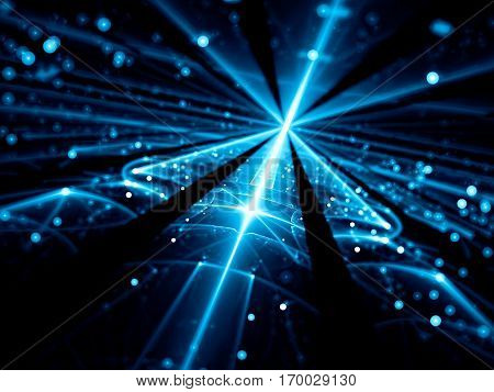 Blurred technology background - abstract computer-generated image. Shiny blue glass surface with glowing lines and bright bubbles bokeh. Future tech, cosmos or vr concept backdrop. stock photo