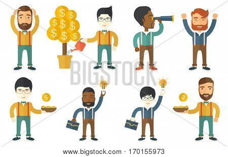 Investor watering money tree. Man investing money in business project. Investor investing money in business. Investment concept. Set of vector flat design illustrations isolated on white background. stock photo