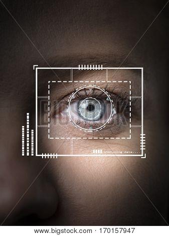 iris retina authentication via biometric security scan stock photo