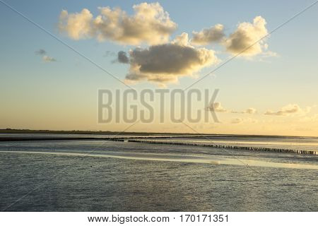 Maritime landscape at sunset with reflection of clouds in low tide water Waddenzee Friesland The Netherlands stock photo
