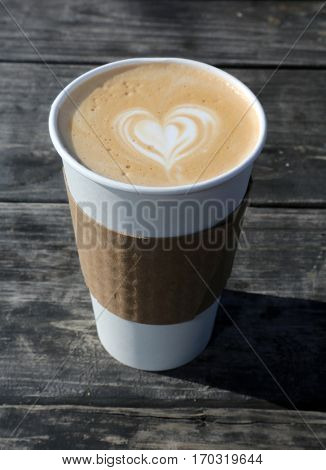 Latte. Coffee Latte with a heart shape in the foam for Valentines Day.-Dishwasher Magnet Skin (size 24x24)
