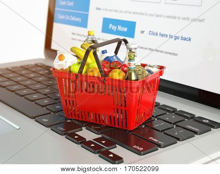 Shopping basket with variety of grocery products ion laptop keyboard. E-commerce concept 3d illustration stock photo