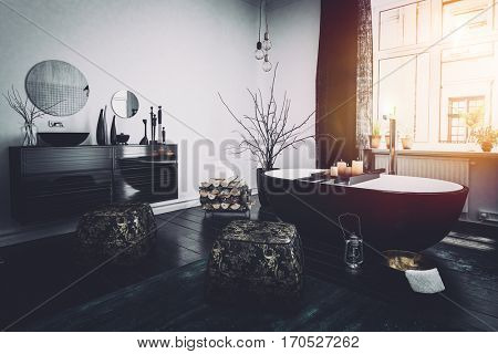 Original Oriental style black bathroom interior with a boat shaped tub, ornaments and burning candles lit by the glow from a large widow, 3d rendering stock photo