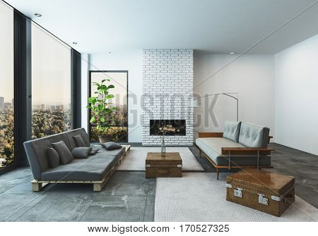 Modern living room in a condo or penthouse apartment with large low slung sofas with suitcase accents in a spacious bright room with floor to ceiling view windows overlooking a city, 3d rendering stock photo