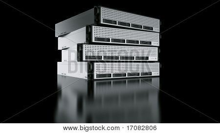 3d rendering of a rack server on black reflective ground. stock photo