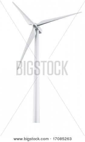 3d rendering of a single wind turbine in a white studio setup stock photo