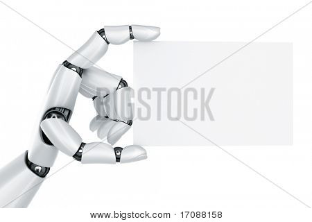 3d rendering of a robot hand holding a blank sign stock photo