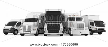 Fleet of Freight Transportation isolated on white background. 3D render stock photo