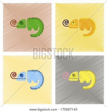 assembly flat shading style icons of reptile chameleon