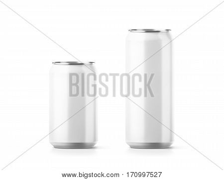 Blank small and big aluminium soda can mockup 3d rendering. Empty beer tin packing mock ups set isolated. Canned drink jar packaging design template. Plain fizzy pop bank package branding. stock photo