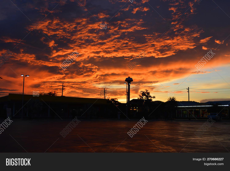 Amazing Cloud Sky Sunset Orange Dark Storm Scary