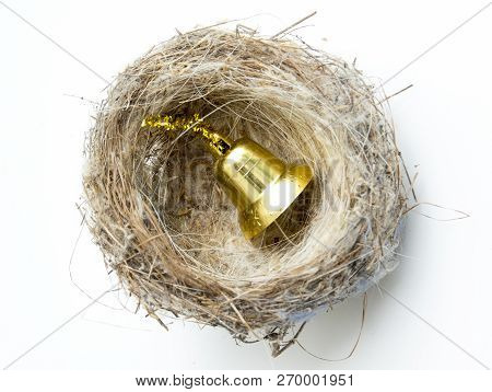 bird nest with christmas decoration goden bell image stock photo