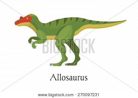 Ancient prehistoric animal dinosaur. Big wild ground predatory animal Allosaurus. stock photo