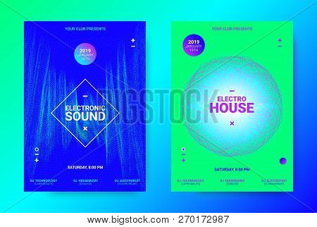 Dj Party Poster. Wave Music Banner for Dance Event. Minimal Electronic Music Flyer. Vector Equalizer with Amplitude of Lines. Promotion of Techno Sound Dj. Brochure for Announcement of Dj Performance stock photo