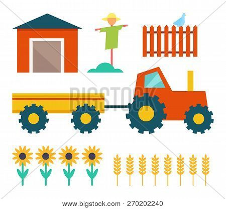 Farm tractor with trailer and building shed. Scarecrow and fence with bird, sunflowers plant and wheat crops grain. Farming homestead icons set vector stock photo