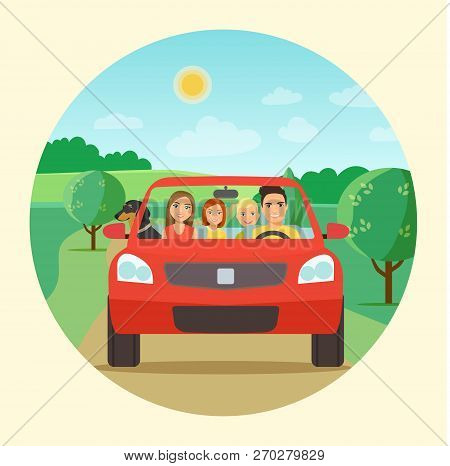 Funny family driving in red car on weekend holiday. ector flat style  illustration stock photo
