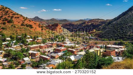 Panorama of Bisbee with surrounding Mule Mountains in Arizona. This historic mining town was built early 1900s and is the county seat of Cochise County. stock photo