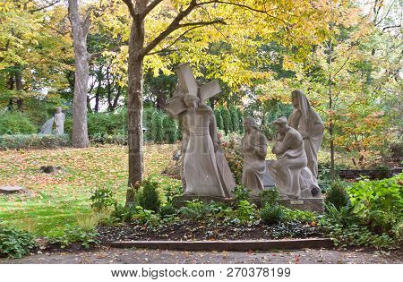 Montreal, Quebec - October 23, 2017 - Horizontal of holy statues on the