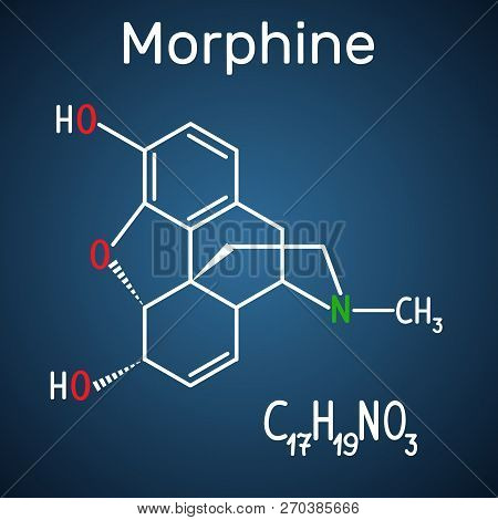 Morphine molecule. It is a pain medication of the opiate. Structural chemical formula and molecule model on the dark blue background. Vector illustration stock photo