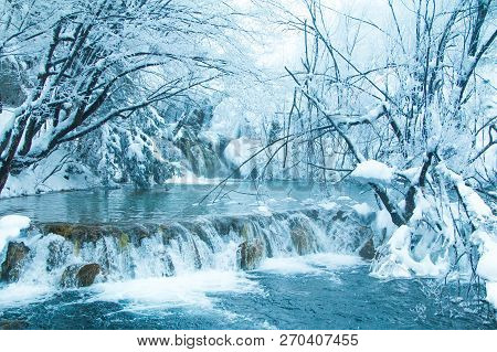 Croatia, Plitivice, frozen waterfalls in popular nature park Plitvicka jezera stock photo