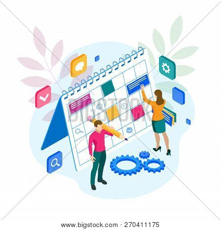 Isometric Project manager updating tasks and milestones progress planning. Weekly schedule and calendar planner organization management. stock photo