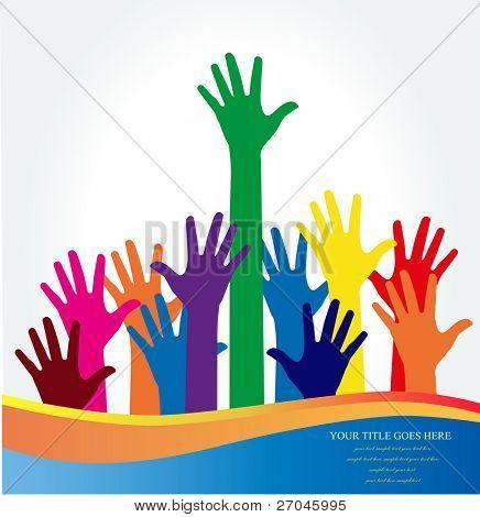 Photo of raised hands. Vector illustration. stock photo