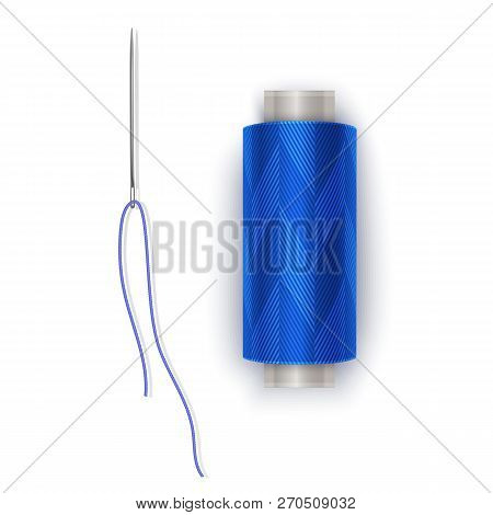 The Thread of Blue Color, Thread Spool Set. Colorful Plastic Bobbin. vector EPS 10 illustration stock photo