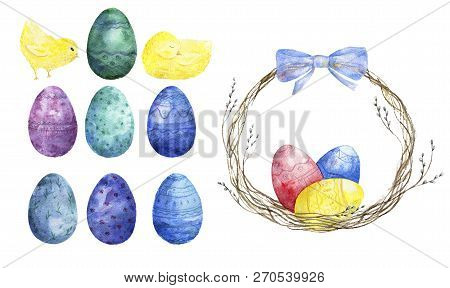 Easter eggs and little chicks. Watercolor brush, Cute farm birds Greate holiday background stock photo