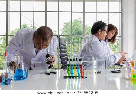 Two Scientists (young Woman And Her Professor) Discuss About The Lab Result On The Monitor Of Notebo