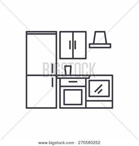 Kitchen wardrobe line icon concept. Kitchen wardrobe vector linear illustration, symbol, sign stock photo