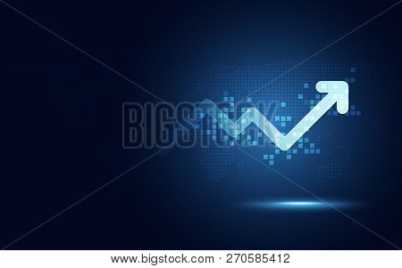 Futuristic Raise Arrow Chart Digital Transformation Abstract Technology Background. Big Data And Bus