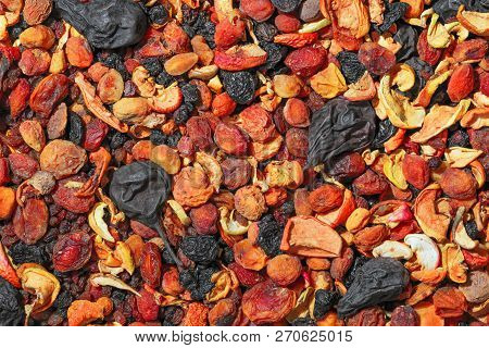 Healthy food. Background of dried fruit. A mixture of dried apricots, pears, raisins, apples, prunes stock photo
