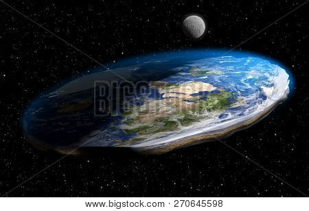 A 3D illustration of the now debunked competing conspiracy theory that the Earth is flat, as it appears from land, rather than spherical. Earth texture maps courtesy of NASA.gov stock photo