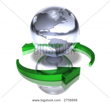 the world with a green arrow turning around it representing recycling stock photo