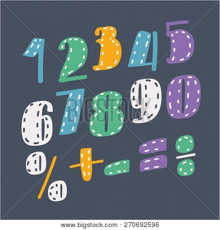 Vector cartoon illustration of Collection of digits. Numbers, figures. Division, exclamation point, multiplication, percent, equals, minus. stock photo