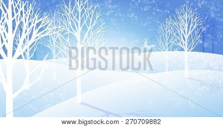 Winter Snowfall Landscape Background.\ Cold Weather In The Big Jungle.\ Vector Eps File.