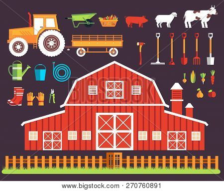 Flat farm in village set sprites and tile sets. instruments, flowers, vegetables, fruits, hay, farm building, animals, tractor, tools, clothing. Vector illustrations design background concept stock photo