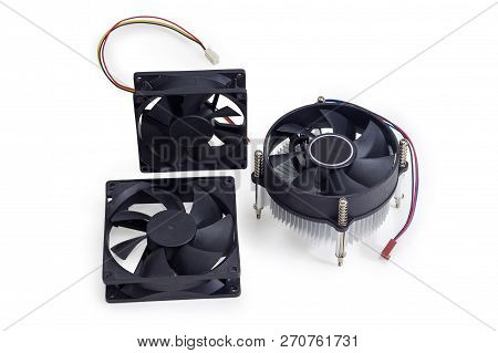 Active CPU heatsink with fan and two fans for computer case used in desktop computers, workstations and servers on a white background stock photo
