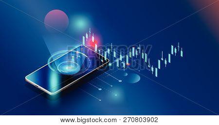 Vector Futuristic,smartphones Controls Stock Market Forex Trading Graph Vector Futuristic  Smart Inv